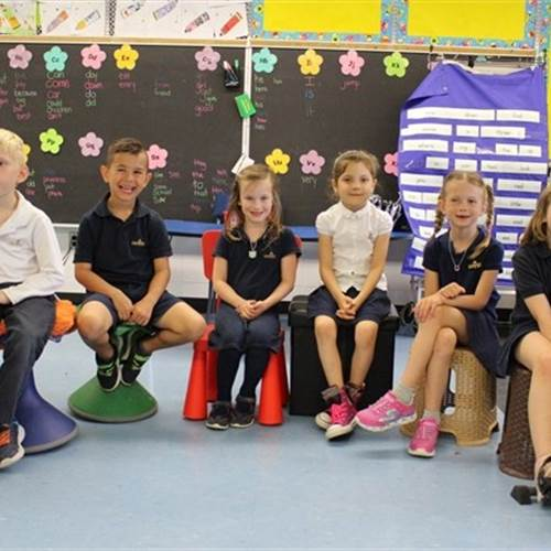 From left: Maxwell Ego, 7, Luke Kester, 7, Hailey Dunham, 6, Karmyn Porco, 7, Kaylee Armstrong, 7, and Lyla Nolan, 7 show off the latest in learning at Our Lady of Mount Carmel Catholic Elementary School in Carlisle. The flexible seating has helped the youngsters to engage with each other, collaborate and has also helped students to focus. Photo by Julia Lovett, Flamborough Review.